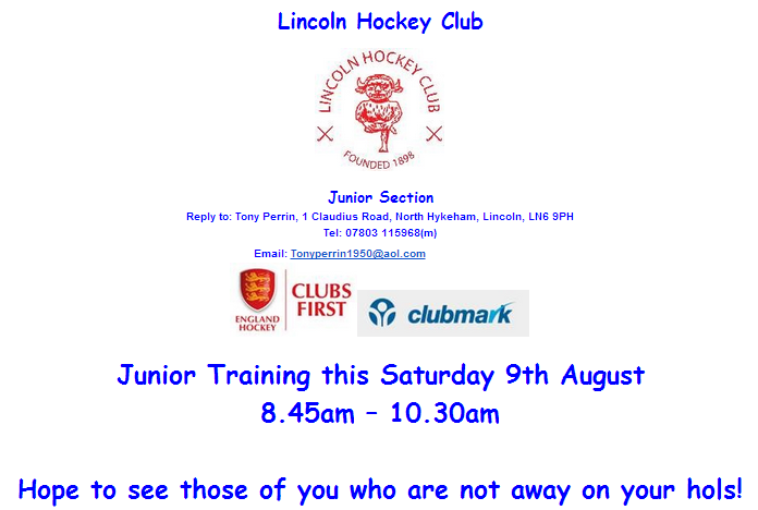 Lincoln HC Junior Training August 2014