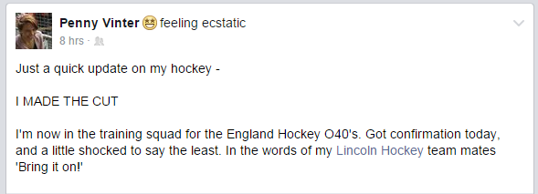 Penny Vinter on the England O40s Training Squad